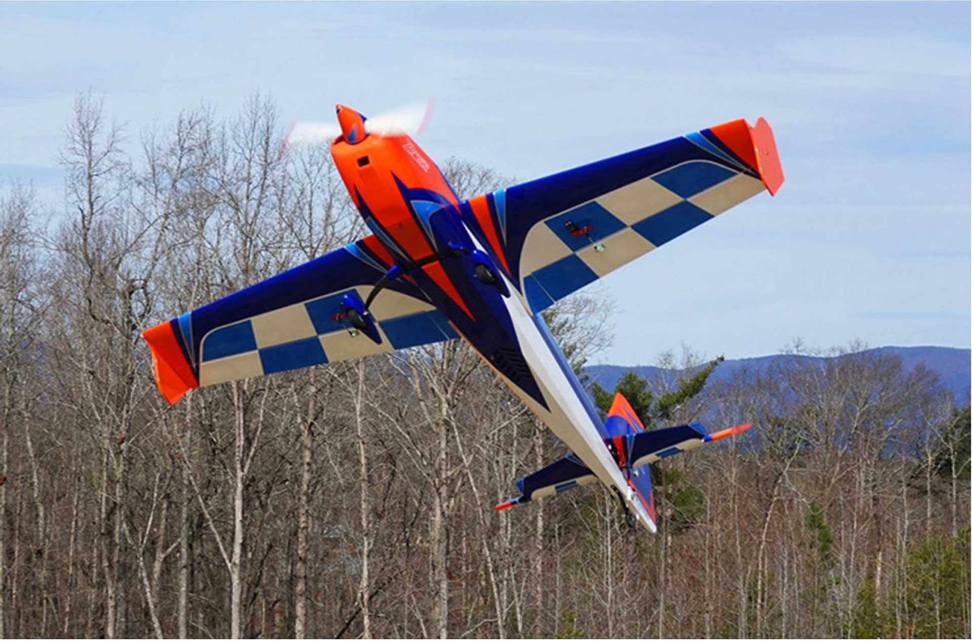 "EXTREMEFLIGHT-RC EXTRA 300 85"" ORANGE / BLUE / WHITE ARF glow/ELECTRIC VERSION"