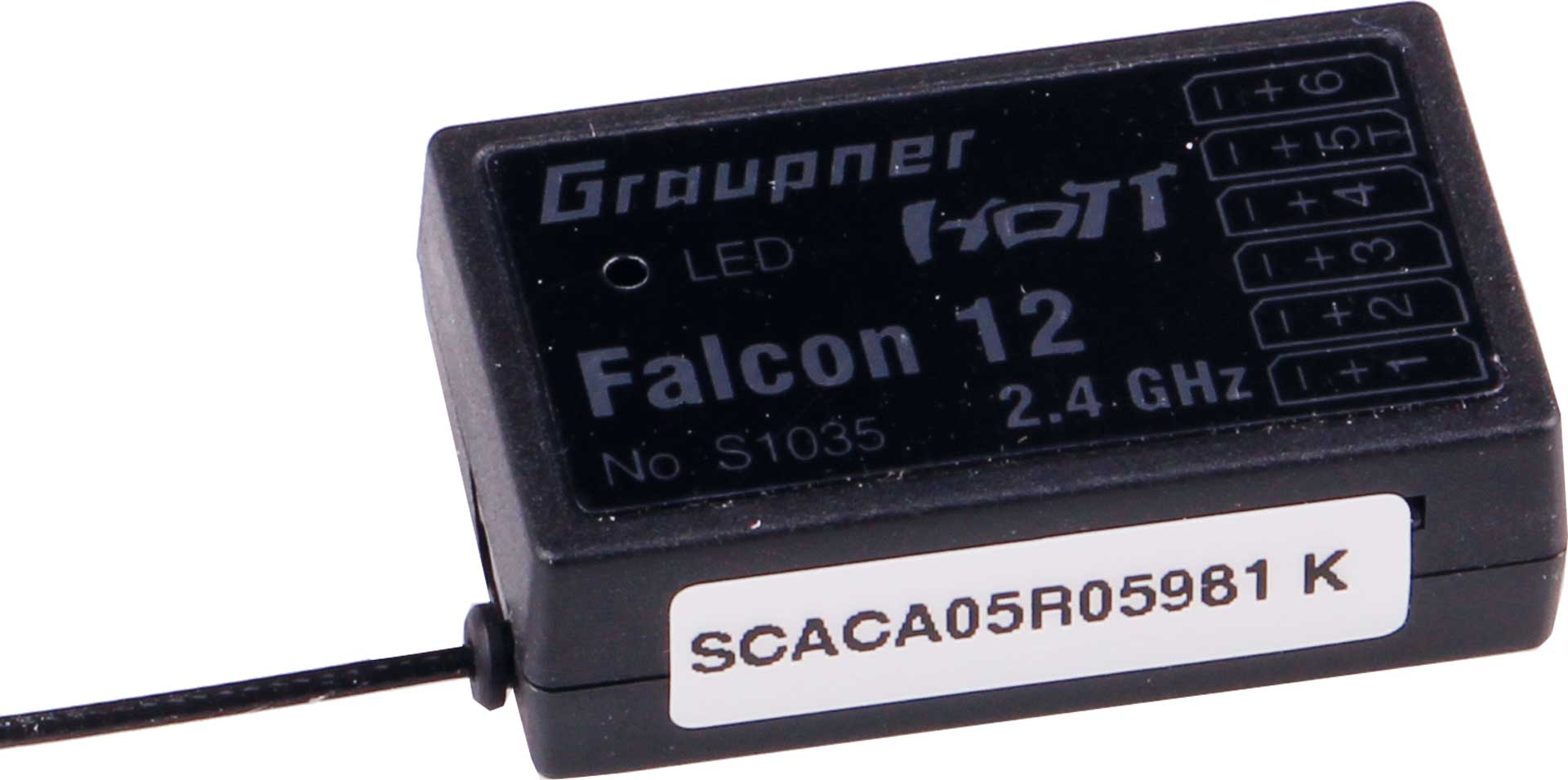 GRAUPNER FALCON 12 6-CHANNEL GYRO RECEIVER HOTT FOR SURFACE, HELI AND COPTER