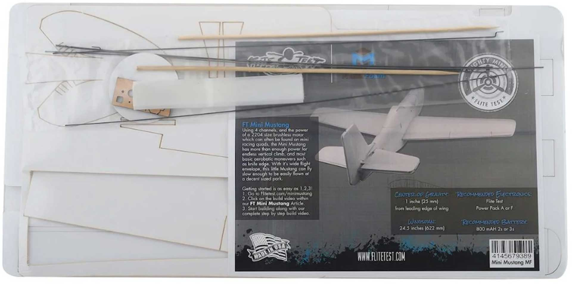 FLITE TEST Mini Mustang Kit Maker Foam 622mm