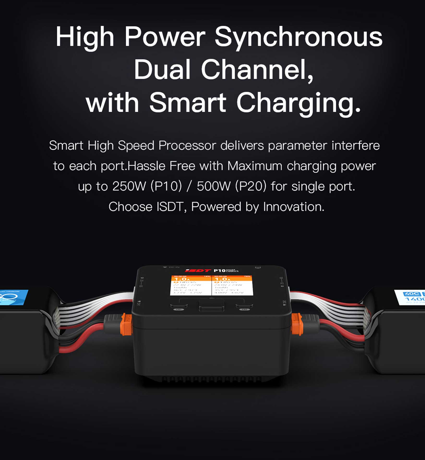 ISDT P10 Dual Smart Charger 1-6A 250W (x2) 10A (2x) 400W/16A parallel Ladegerät