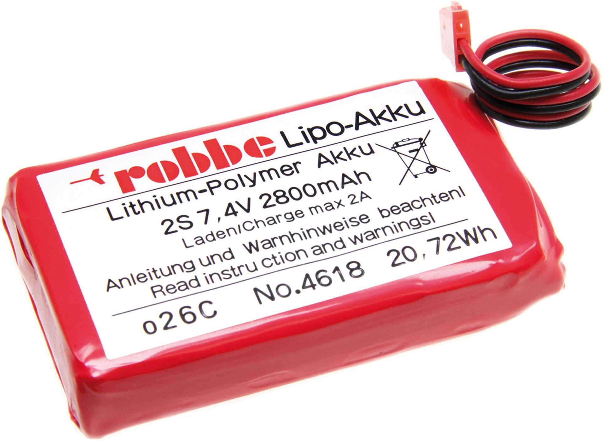 ROBBE LIPO AKKU S-AKKU 7,4 VOLT 2S 2800 MAH