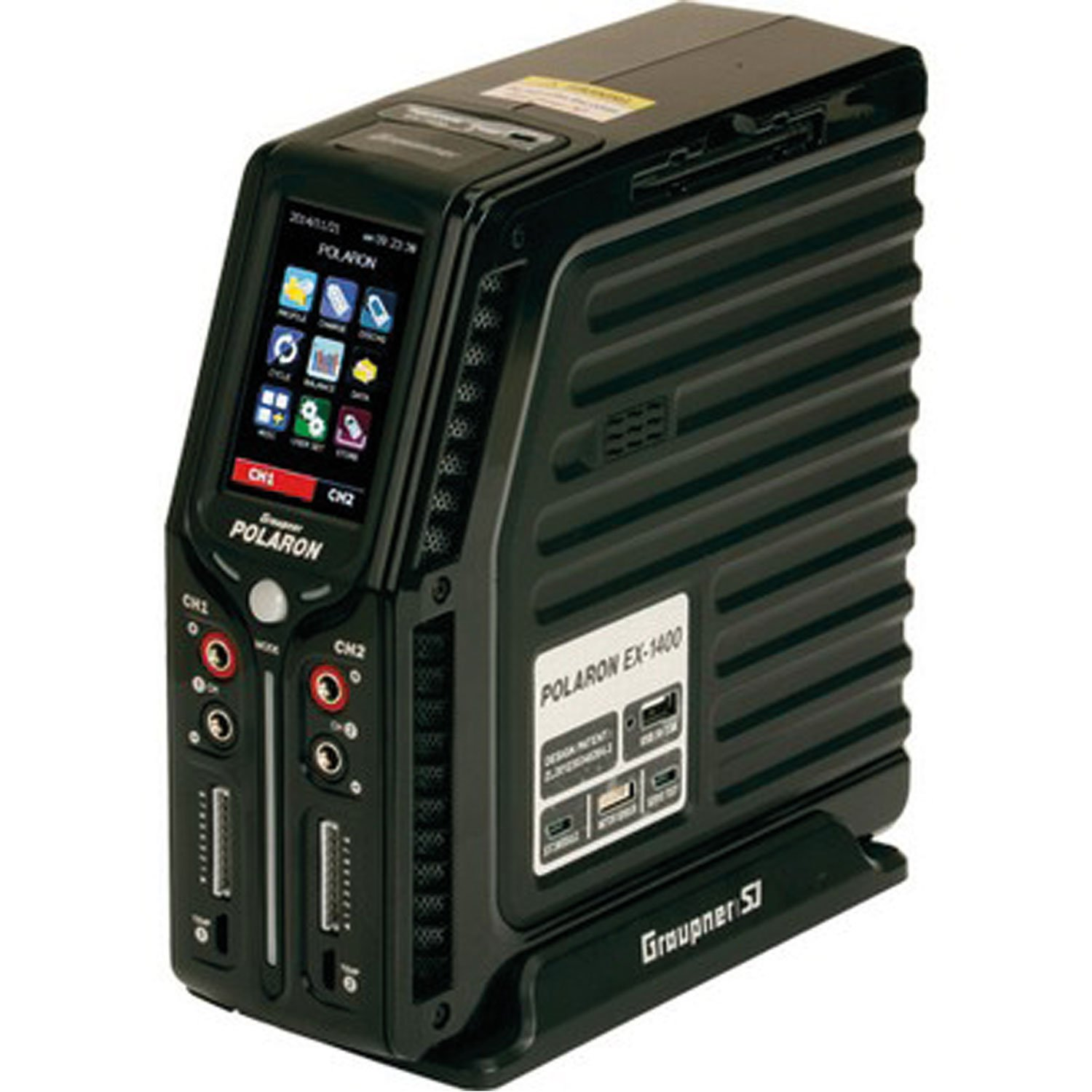 """GRAUPNER POLARON EX 1400 11-28V 2X730W 1-8S SILVER, WITH 3.0"""" COLOR TOUCH SCREEN"""