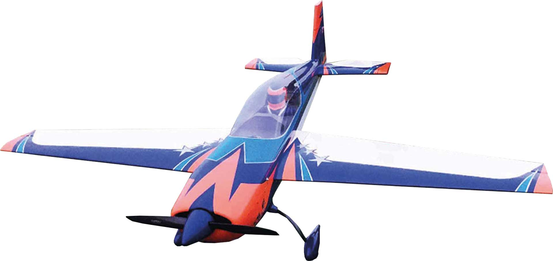 """EXTREMEFLIGHT-RC EXTRA 300 V4 125"""" ORANGE / BLUE / WHITE 4-CYLINDER VERSION ONLY ON SPECIAL REQUEST! LONGER DELIVERY TIME!!!!"""