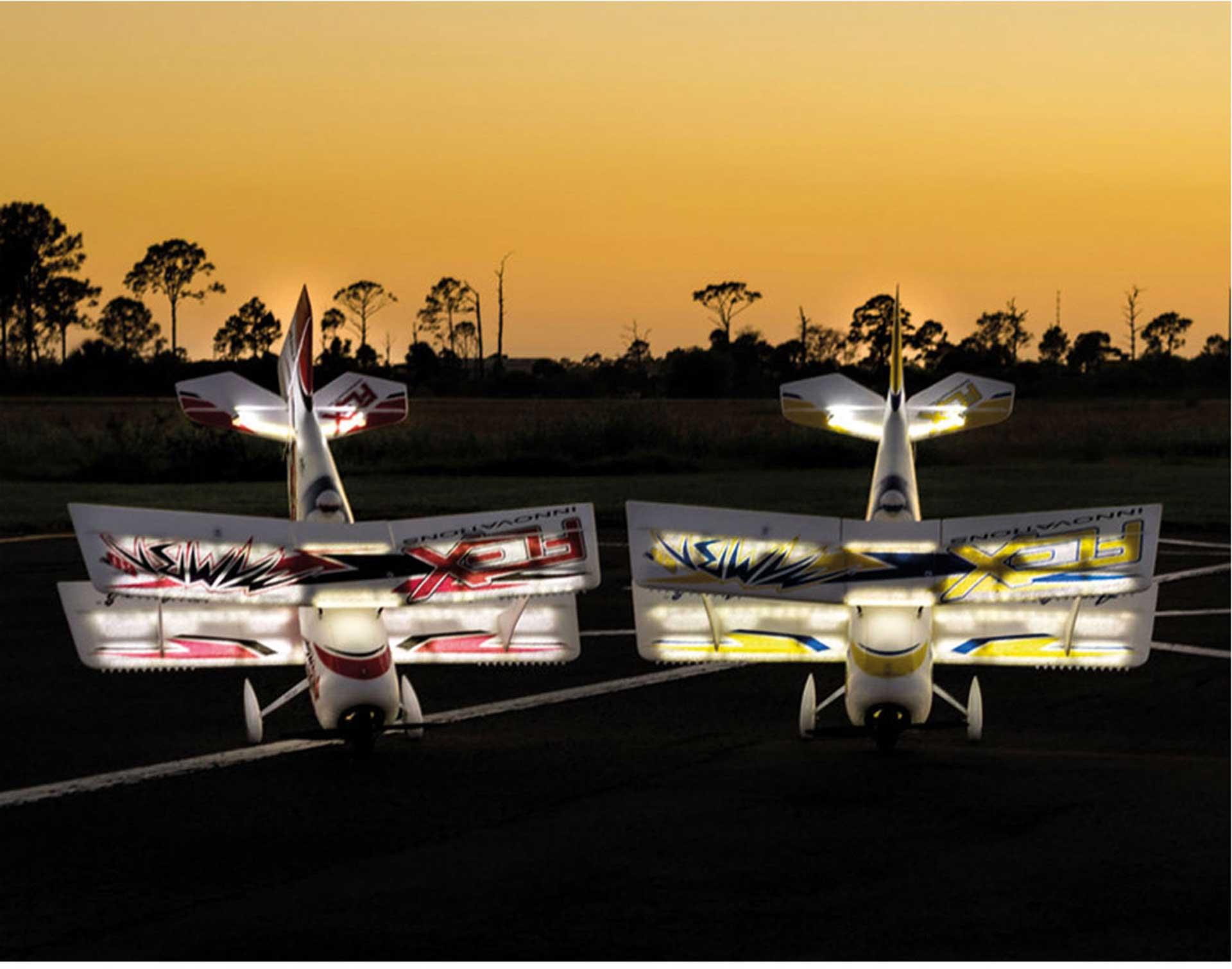 PREMIER AIRCRAFT MAMBA 60 E+ GELB/BLAU PNP NIGHT MIT AURA 8 UND LED BELEUCHTUNG DOPPELDECKER
