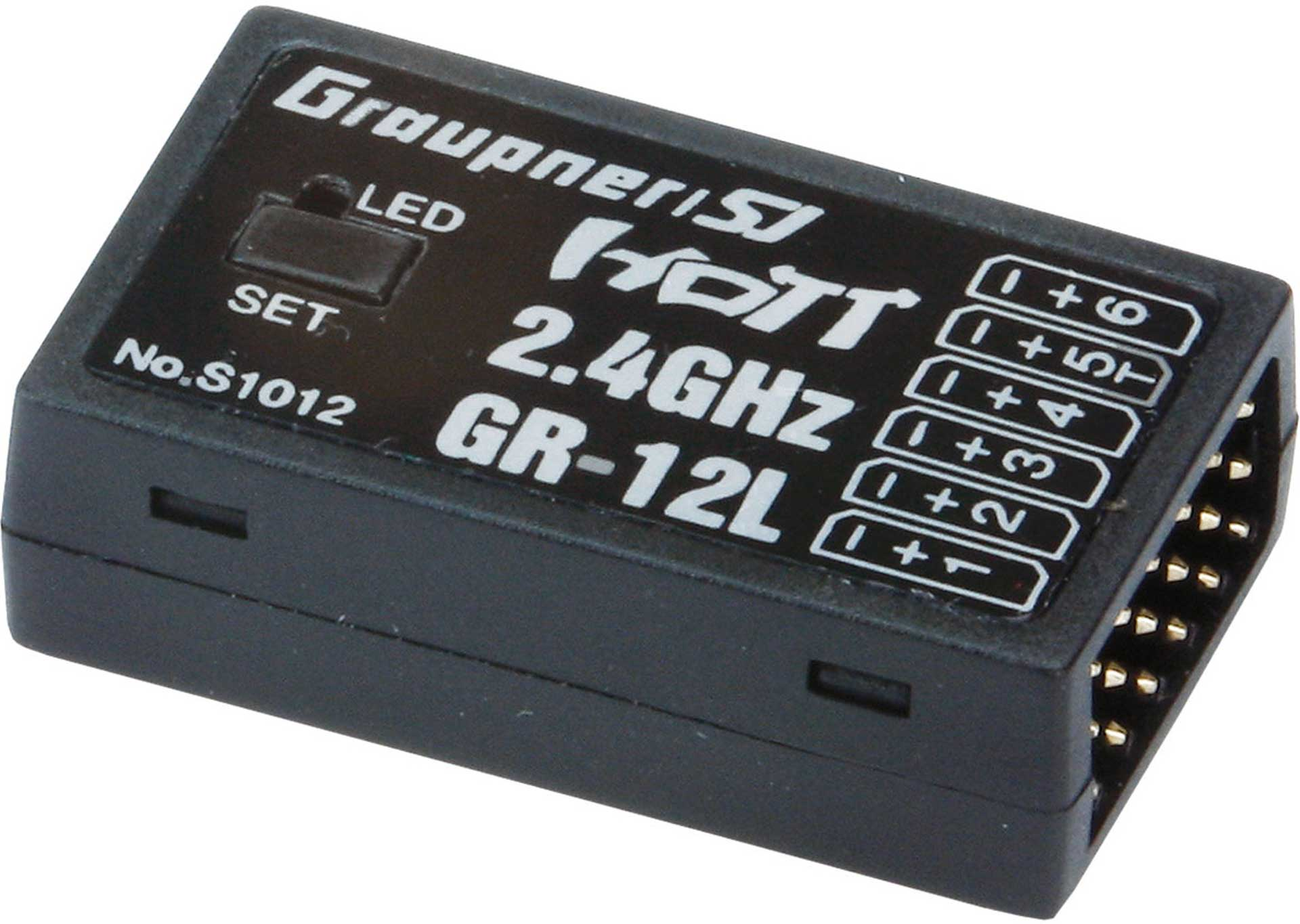 GRAUPNER GR-12L 2.4GHZ HOT 6K RECEIVER WITHOUT CHANNEL MAPPING, SERVO REVERSE....