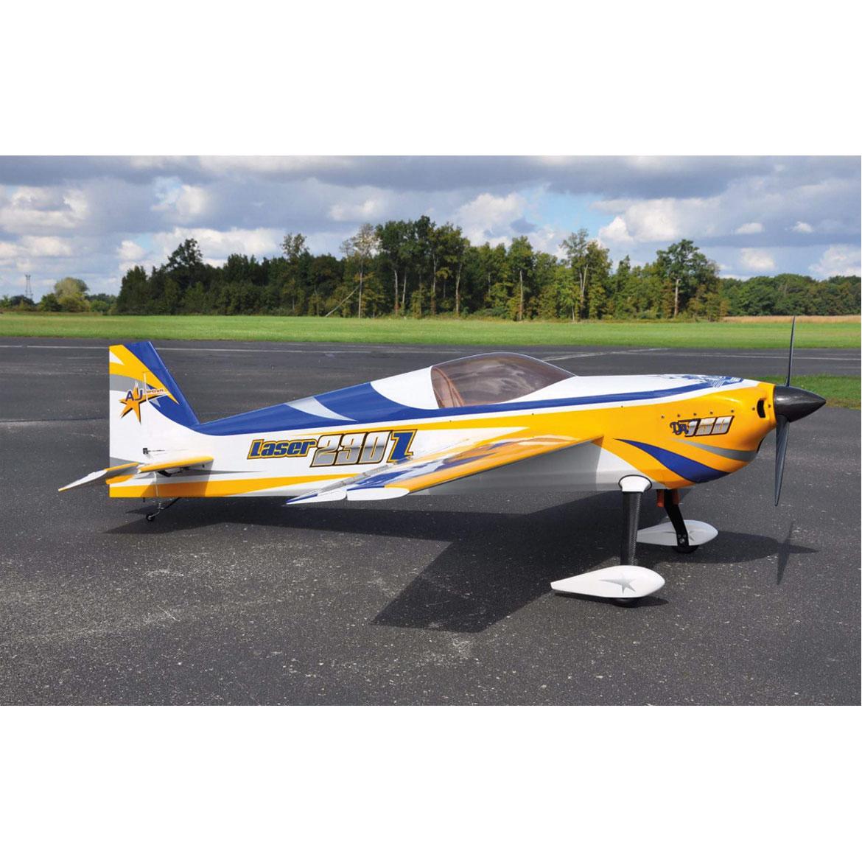 """AJ AIRCRAFT LASER 230Z 105"""" ARF REFLEX DESIGN (BLAU/GELB/WEISS)"""