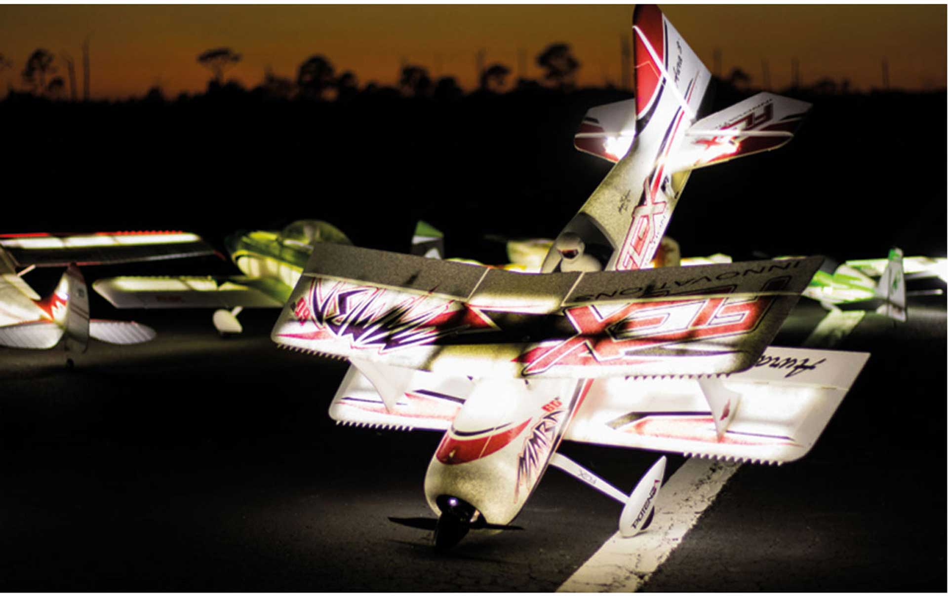 PREMIER AIRCRAFT MAMBA 60 E+ RED/BLACK PNP NIGHT WITH AURA 8 AND LED LIGHTING DOUBLE DECKER