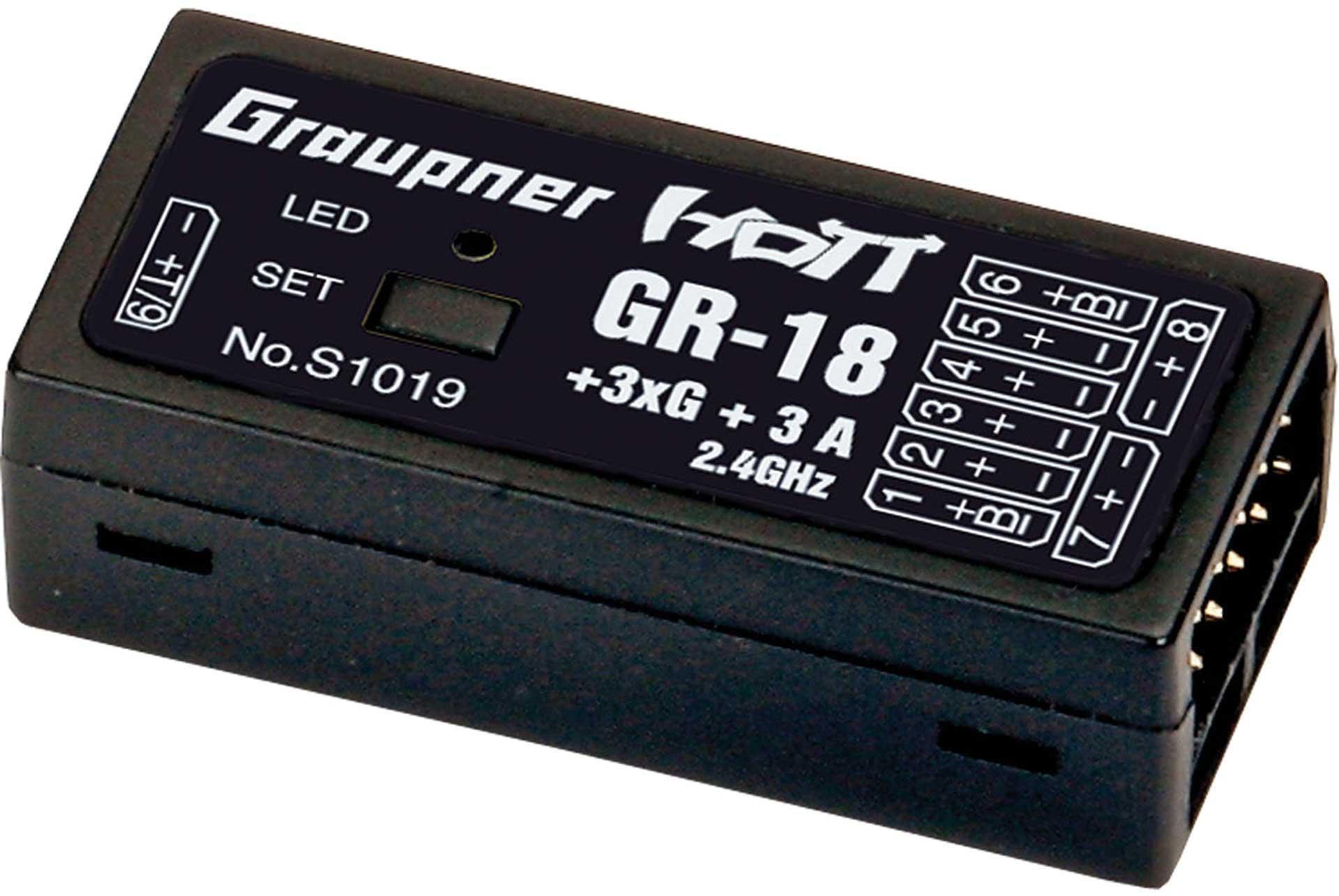 """GRAUPNER GR-18 """"AIR"""" + 3XG + 3A integrated flight controller 9 Kanal HoTT Empfänger für Flugmodelle und Helicopter"""