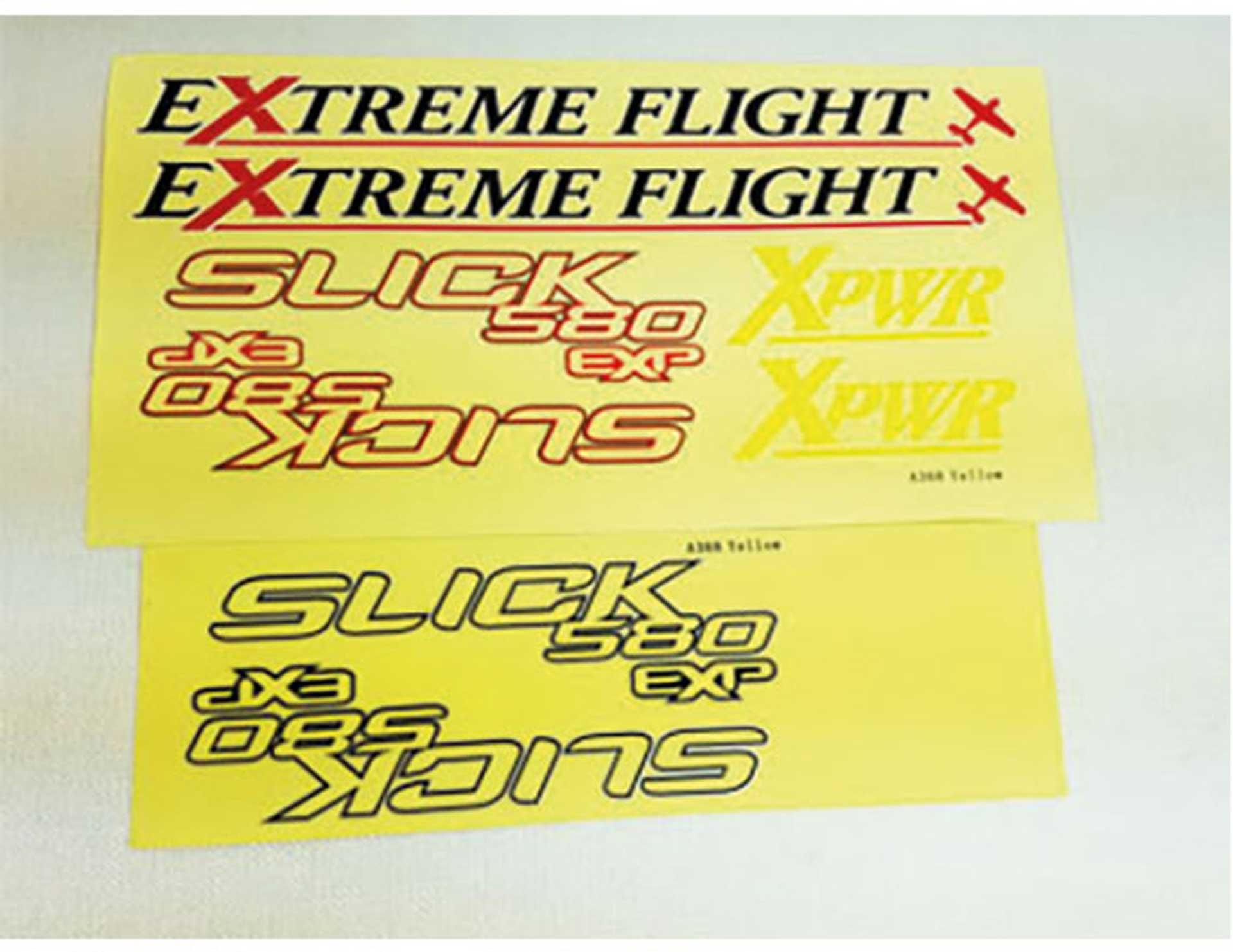"EXTREMEFLIGHT-RC DEKORBOGEN SLICK 580 52"" GELB / BLAU"