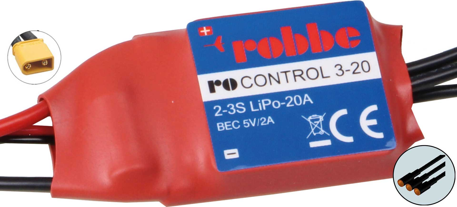ROBBE RO-CONTROL 4-20 2-4S -20(25)A BRUSHLESS CONTROLLER 5V/2A BEC