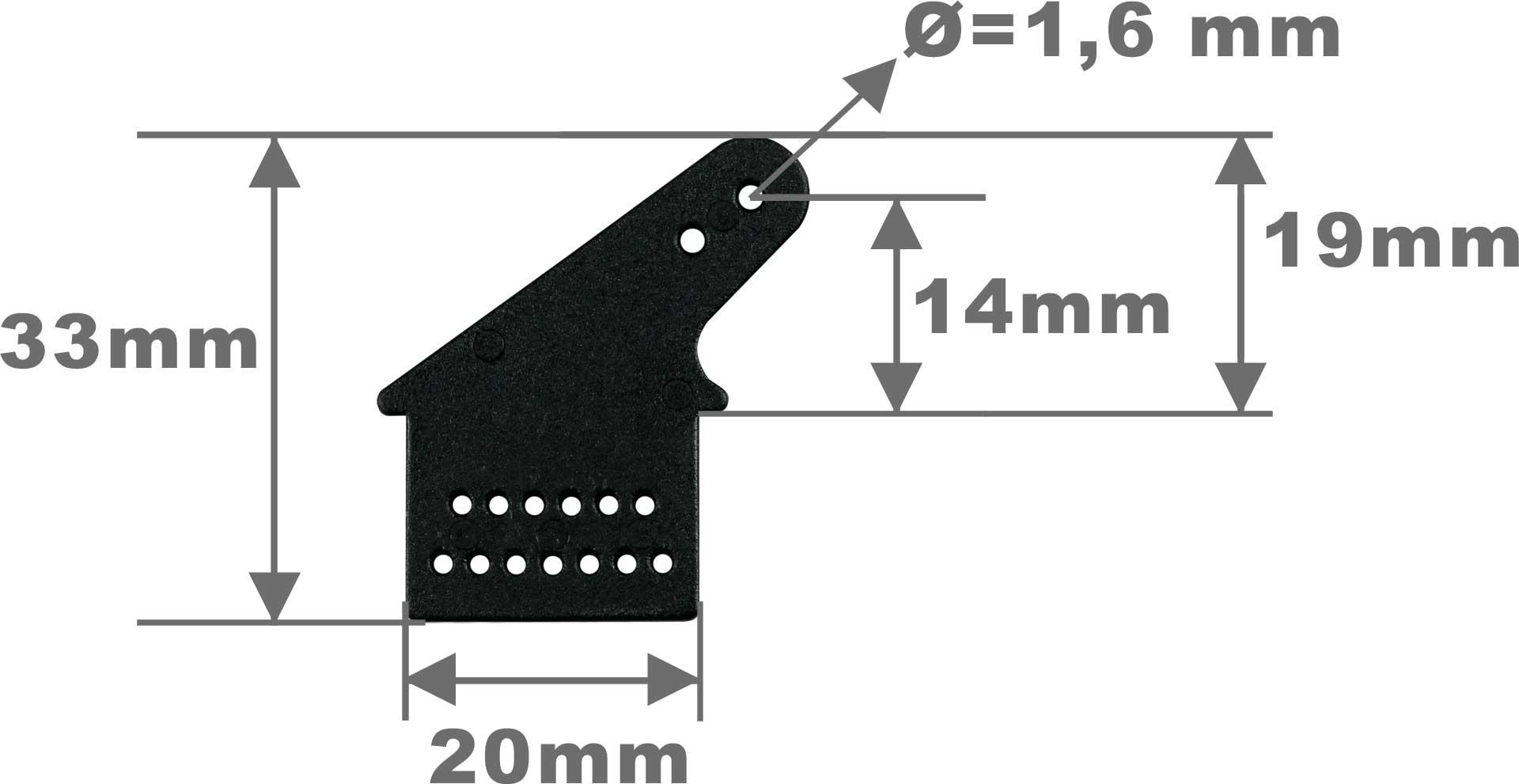 Robbe Modellsport Ruderhorn Kunststoff L33mm 10Stk. (A= 19mm)
