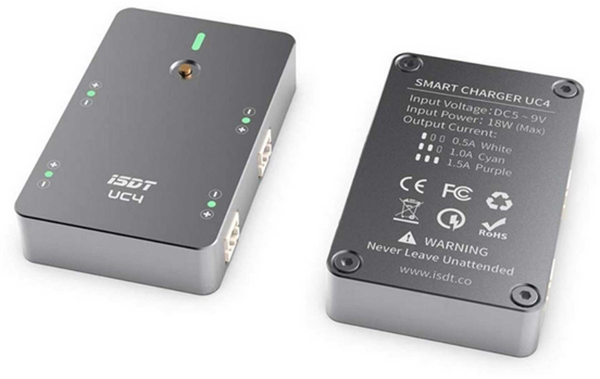 ISDT UC4 SMART CHARGER 4-WAY CHARGER FOR 1S LIPO WITH PH2.0 CONNECTOR SYSTEM