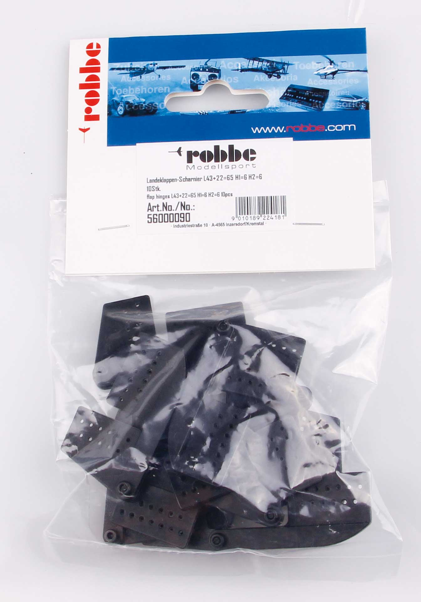 Robbe Modellsport Landeklappen-Scharnier L65mm schwarz Kunststoff 10Stk.